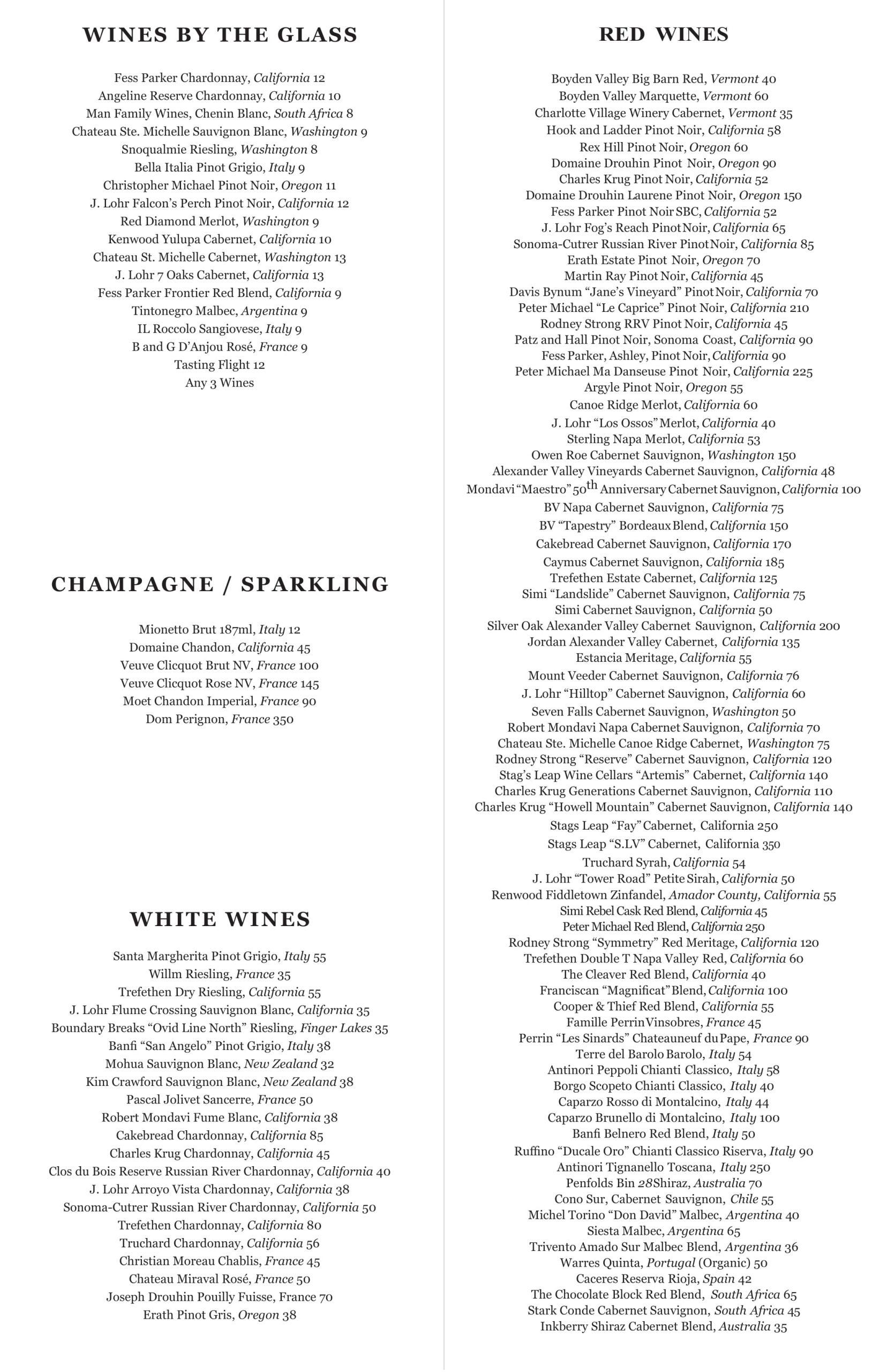 Southside wine list 4.19.21